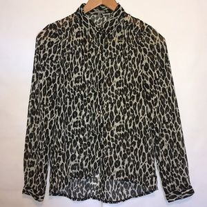 Charlotte Russe cheetah print brown black blouse